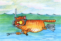 Cat-underwater fish hunter. Watercolor Stock Photography