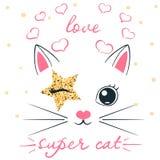 Cat, unicorn, caticorn illustration. Idea for print baby, girl t-shirt.
