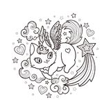 Cat unicorn with clouds and stars. Cartoon animals. Vector