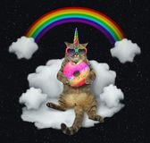Cat unicorn with the color donut on a cloud