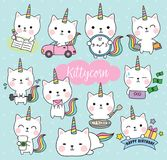 Cat Unicorn Life Activity Planner Vector Illustration stock illustration