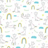 Cat unicorn seamless pattern. Trendy childish drawing style. vector illustration for fashion textile print