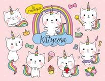 Cat Unicorn Vector Illustration Set illustrazione vettoriale