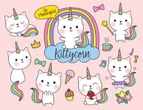 Cat Unicorn Vector Illustration Set. Cute white cat unicorn with rainbow horn and tail set including cute elements such as flower, ice-cream, cupcake, etc vector illustration