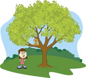 Cat Up A Tree. Illustration of a girl glaring at her cat stuck in a tree Stock Photo