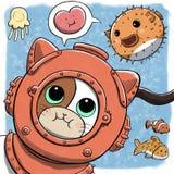 Cat Using Diving Dress subaquática Imagens de Stock