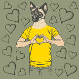 Cat Valentine day vector concept Royalty Free Stock Photos