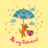 Cat in valentine's day Stock Photography