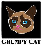 Cat Vector Drawing grincheuse célèbre Image libre de droits