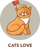 Cat - vector icon and illustration Royalty Free Stock Photos