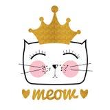 Cat Vector Illustration dibujada mano linda Pequeña princesa con Cr Imagenes de archivo