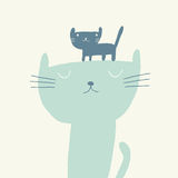 Cat vector illustration for fathers day. Vector illustration of a cute cat and a kitten for fathers day Royalty Free Stock Photo
