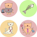Cat. Vector illustration of a cat with gifts for cat flower mouse in a cage fish bone necklace of sausages surprise for the favorite Royalty Free Stock Photos