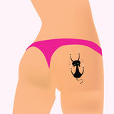 Cat vector illustration on the girl ass. With bikini Royalty Free Stock Photography