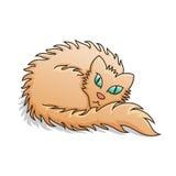 Cat Vector Illustration lanuginosa rossa Fotografia Stock
