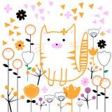 Cat vector kitten animal flowers weeds Royalty Free Stock Photo