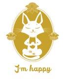 Cat Vector méditante Cat And Message mignonne je suis heureux Photographie stock