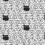 Cat Vector Pattern mignonne tirée par la main Art de griffonnage Photos stock