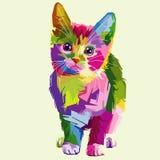 Cat vector pop art fullcolor. Cute cat fulcolor vector pop art artwork pet cartoon animal animals wallpaper clip Stock Photo