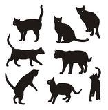 Cat vector silhouette set Isolated On White royalty free illustration