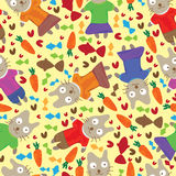 Cat Vegetarian Seamless Pattern_eps. Illustration of cat love eat vegetarian food seamless pattern Stock Images