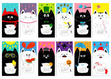 Cat vertical monthly calendar 2017. All month. Cute funny cartoon character set. Happy Valentines St Patrick day Christmas Easter Stock Image