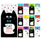 Cat vertical monthly calendar 2017 cover. All month. Cute cartoon character set. Happy Valentines St Patrick day Christmas Easter Stock Image