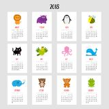 Cat vertical monthly calendar 2018. Cute funny cartoon. Animal insect character set. Lion, hippo penguin bee cat parrot octopus whale elephant bear jaguar frog stock illustration