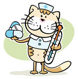 Cat veterinarian with thermometer and pills Stock Image