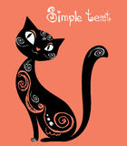Cat with vintage ornament, silhouette Stock Photography