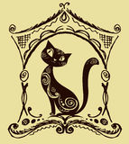 Cat with vintage ornament, silhouette Stock Photos