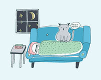 The cat wakes the owner, meowing at night. Cute hand drawn doodle illustration. The cat wakes the owner, meowing at night, Cute hand drawn doodle illustration Stock Image