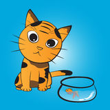 Cat wants to eat fish. Vector illustration Stock Photos