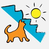The cat is warm. sunshine happiness positivity. Abstraction Stock Photos