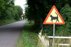 Cat warning. Warning sign regarding our favorite pet stock photos