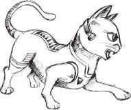 Cat Warrior Sketch Doodle Stock Photography