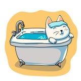 Cat washing in the bath. Cartooon illustration stock illustration