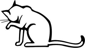 Cat Washing. Line drawing a cat sitting washing its face with a paw Royalty Free Stock Photography
