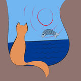 Cat watches for a fish on sunrise at sea Royalty Free Stock Photography