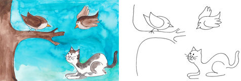 Cat watching for birds vector illustration