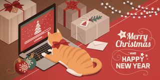 Cat watching Christmas app loading on the laptop. Cute red cat lying on the laptop keyboard and watching Christmas app loading on the screen royalty free illustration