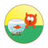 Cat watching fish in an aquarium. Royalty Free Stock Photography