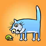 Cat watching snail. vector illustration Stock Photo