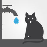 Cat and water tap Royalty Free Stock Photography