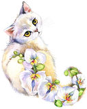 Cat. Watercolor cat. Flower watercolor background. Stock Photo