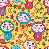 Cat wear cute natural love seamless pattern. This illustration is design abstract cat psychiatric dont know psychiatric and can like that with lovely imagine in Stock Photos