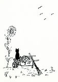 Cat on Wheelbarrow. An illustration of a cat sitting on a wheelbarrow Stock Photos