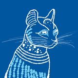 Cat in white outline on blue background royalty free stock image
