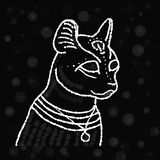 Cat with a white outline on a black background royalty free stock photo