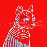 Cat in white outline on red background stock images